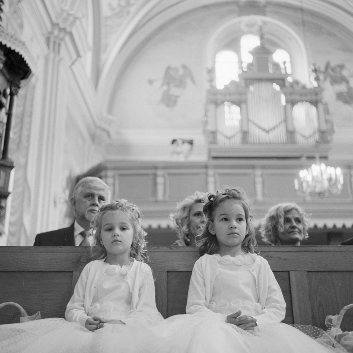 portrait of kids in the church - wedding ceremony on film