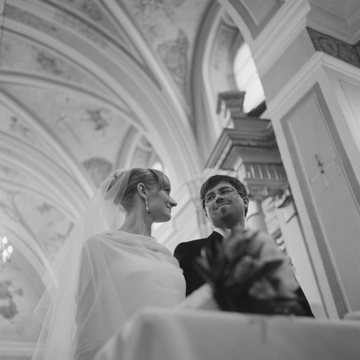 bride and groom at church - film wedding photography