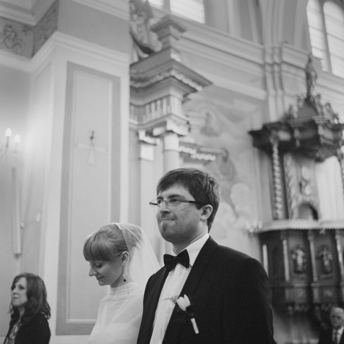 Bride and groom portrait on film