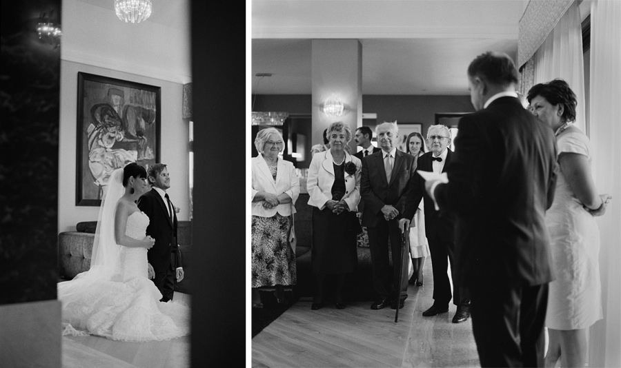 wedding on black and white film