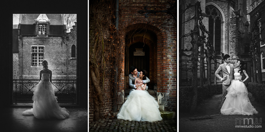 bride and groom portraits by wedding photographer bruges
