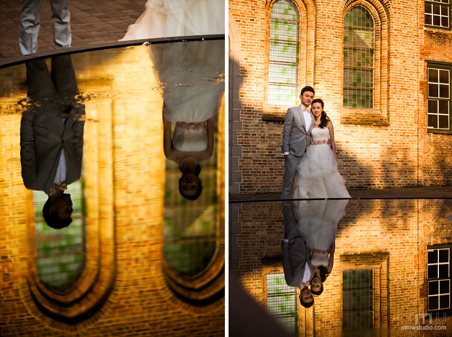 wedding photography, reflections in water