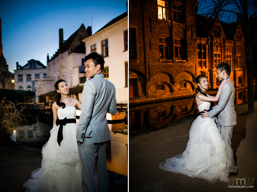 night wedding session in Bruges, near Brussels