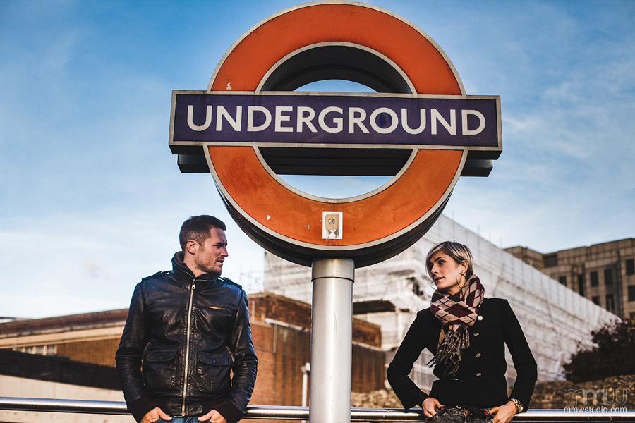 wedding session in London, underground tube station