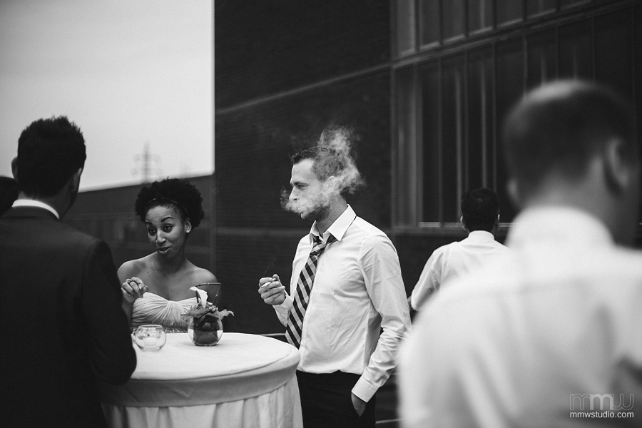 wedding guests with cigarettes