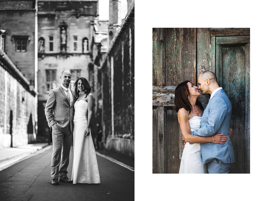 wedding session in Oxford, street of old town