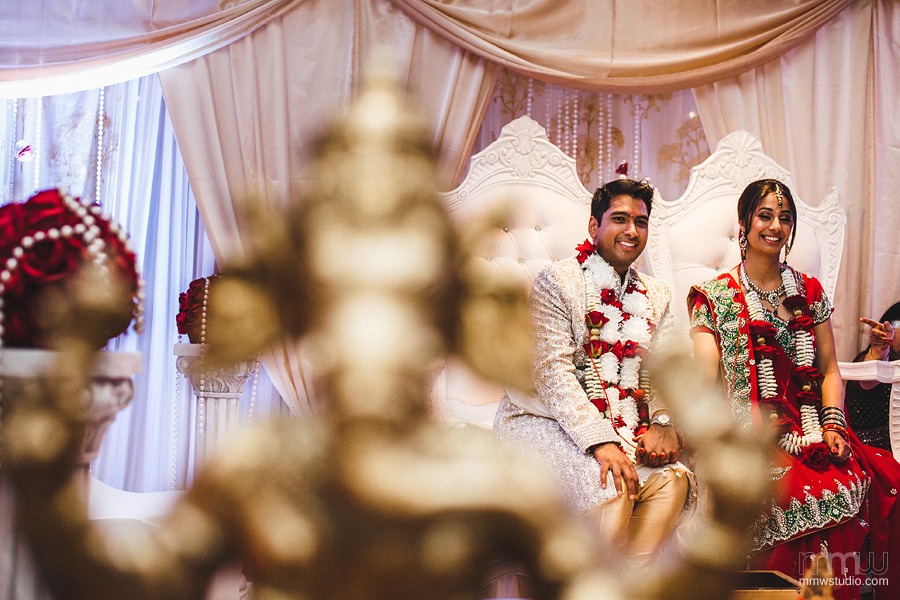 indian weddin ceremony, bride and groom portrait by photographer solihull