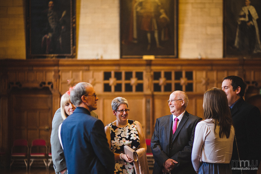 unformal wedding photography - guests in Oxford Town Hall