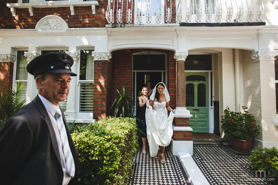 Wedding photography Fulham, bride and the driver
