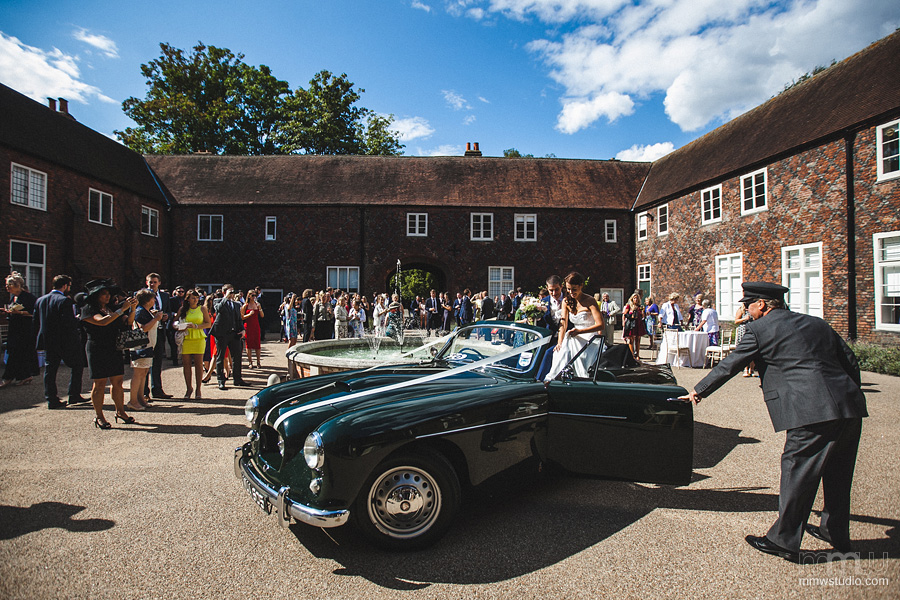 Wedding reception Fulham Palace, Bristol convertible car