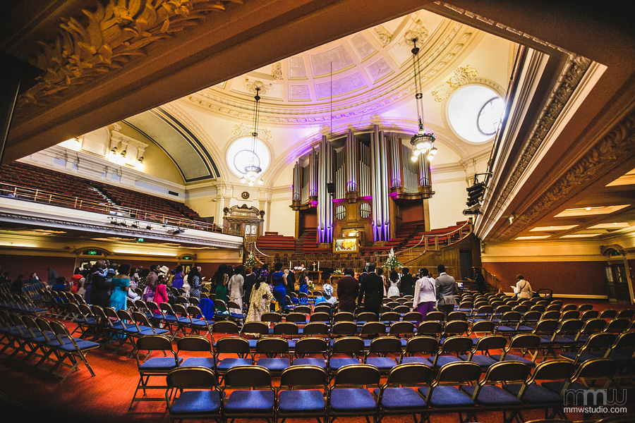 wedding in Methodist Central Hall Westminster, London
