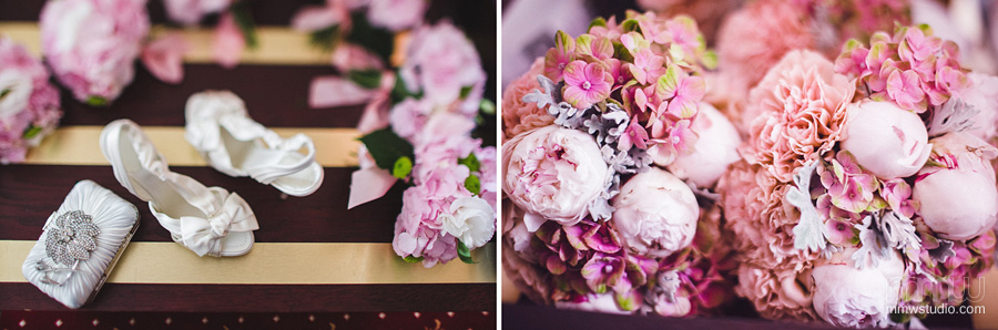 wedding details, shoes, flowers by Birmingham based destination photographers