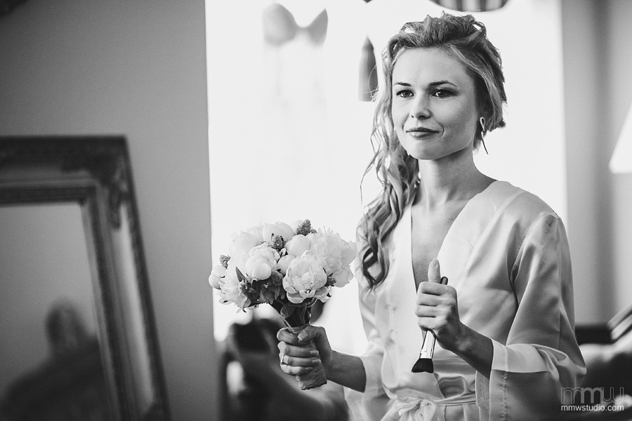 Bride with flowers portrait