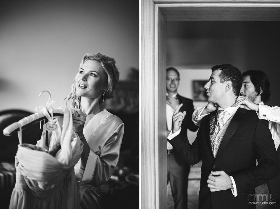 informal bride and groom portraits on preparations