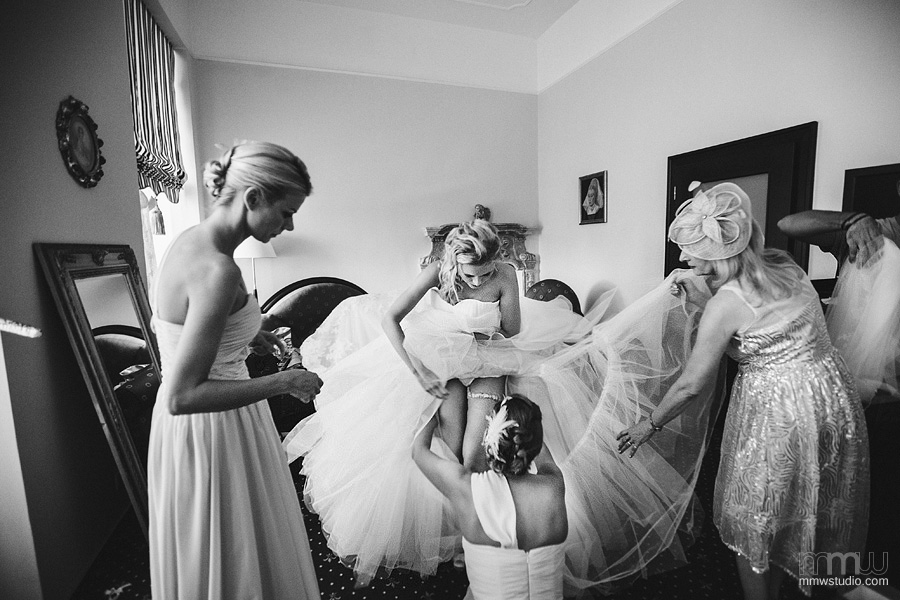 wedding preparations, informal bride in lingerie photo