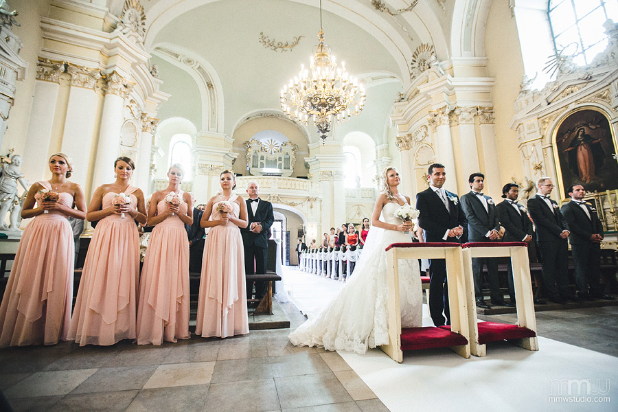 bride, groom, bridesmaids, groomsman in church