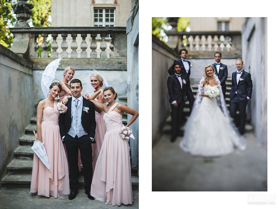 groom with bridesmaids and bride with groomsman portrait