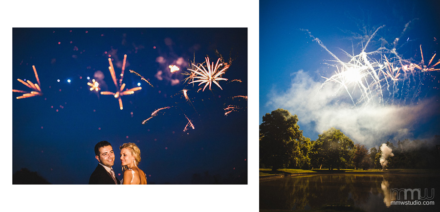 informal shot of bride and groom with fireworks on the wedding