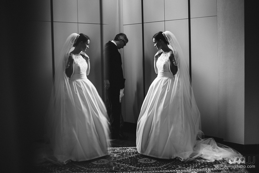 Black and white bride portrait mirror