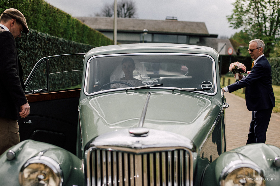 vintage jaguar wedding car