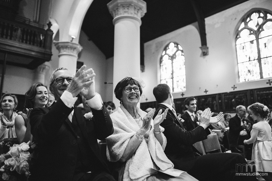 Emotions in church on the wedding