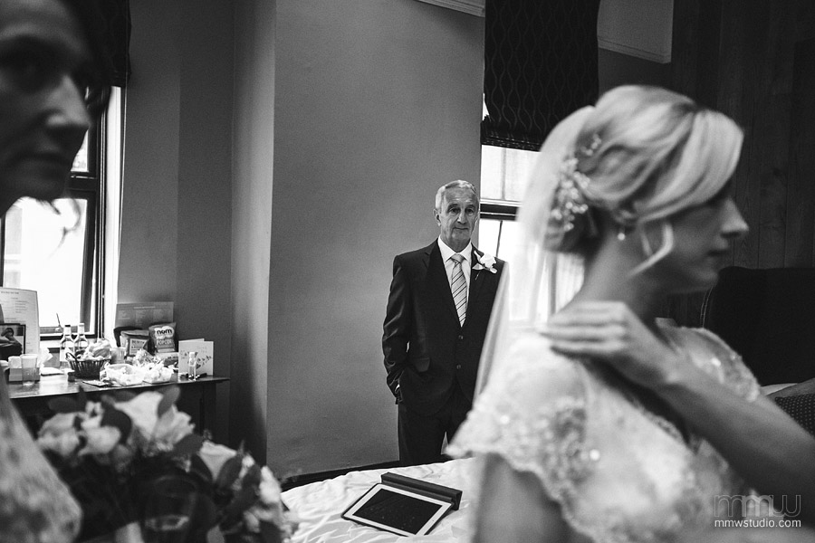 father and bride wedding portrait